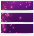 Bright glittering sparkle flare headers set vector image vector image