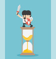 business stand on hourglass ready to fight vector image
