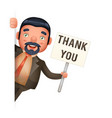 businessman look out corner thank you paper vector image