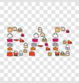 cartoon bag symbols in word vector image