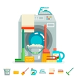 Cleaning washing concept supplies icons flat vector image vector image