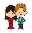 couple of young people man and woman hold hands vector image vector image