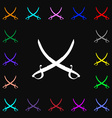 Crossed saber icon sign Lots of colorful symbols vector image