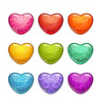 cute cartoon colorful glossy heart shaped candies vector image vector image