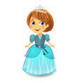 cute little princess in a blue dress vector image vector image