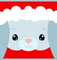 cute rabbit face santa claus hat on bunny vector image vector image
