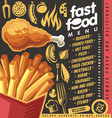 fast food restaurant menu design with french fries vector image