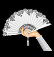 female hand with open white vintage fan isolated vector image vector image