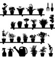 flower plant pot silhouette a large set of vector image vector image