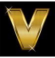 Golden font type letter V vector image vector image