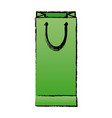 green paper shopping bag handle package icon vector image