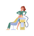 hairdresser washing hair for her client at beauty vector image