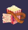 kettle corn and coupons cinema roll film vector image