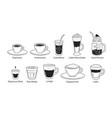 line art set coffee cups