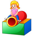 little girl on the playground tunnel vector image vector image