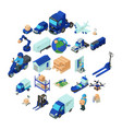 logistic and delivery icons set isometric style vector image vector image