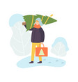 man wearing warm winter clothes carrying christmas vector image vector image