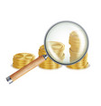 money and magnifying glass coins business vector image vector image