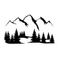 mountains and forest silhouette vector image