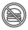 no fastfood line icon fitness and sport vector image vector image