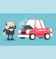 old car and old manon road vector image