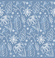 pale blue pattern with outline leaves and branches vector image vector image