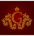 Patterned golden letter G monogram in vintage vector image vector image