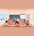 pupils solving math problem on chalkboard during vector image