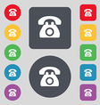 Retro telephone icon sign A set of 12 colored vector image