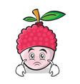 sad face lychee cartoon character style vector image vector image