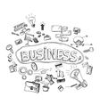 set doodle icons for business vector image vector image