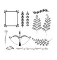 set frame with arrow and branches leaves vector image vector image