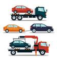set of cars evacuating broken or damaged auto vector image vector image