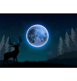 Silhouette of a deer standing on a hill at night vector image