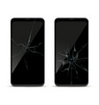 smartphone crack screen damage mobile phone front vector image