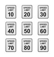 speed limit road sign set vector image vector image