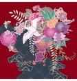 Vintage kimono floral motif vector image