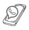 whatsapp icon doodle hand drawn or outline icon vector image