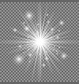 white glowing light explosion with transparent vector image