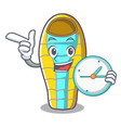 with clock sleeping bad character cartoon vector image
