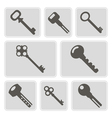 monochrome icons with keys vector image