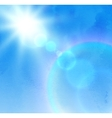 Sunlight rays and blue sky vector image