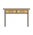 desk table with drawers front view in colored vector image