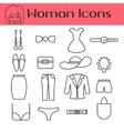 Woman accessories line icon set vector image