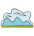 cartoon mountain meadow cloud landscape vector image
