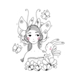 Beautiful young girl butterflies and hare vector image