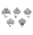 Black and white floral motifs of persian style vector image vector image