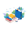 book festival concept - a group of tiny people vector image vector image