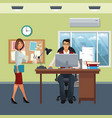 business characters in office scene vector image