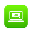 button sale on laptop icon digital green vector image